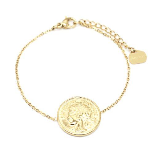 Bracelet-Fine-Chaine-avec-Piece-Monnaie-Napoleon-Acier-Dore