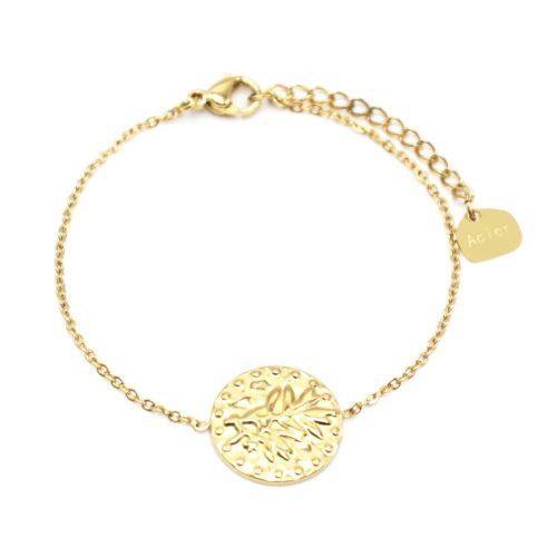 Bracelet-Fine-Chaine-avec-Medaille-Martelee-Laurier-et-Points-Acier-Dore