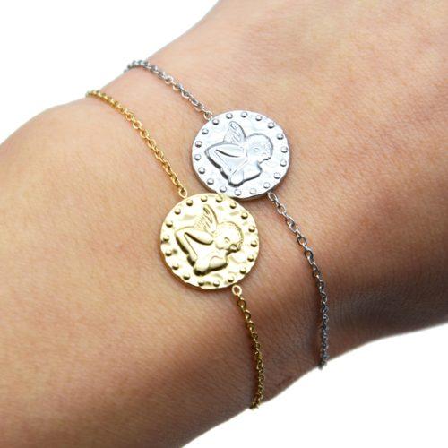 Bracelet-Fine-Chaine-avec-Medaille-Martelee-Ange-et-Points-Acier
