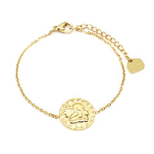 Bracelet-Fine-Chaine-avec-Medaille-Martelee-Ange-et-Points-Acier-Dore