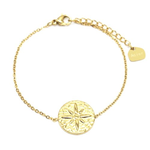 Bracelet-Fine-Chaine-avec-Medaille-Martelee-Etoile-Polaire-Acier-Dore