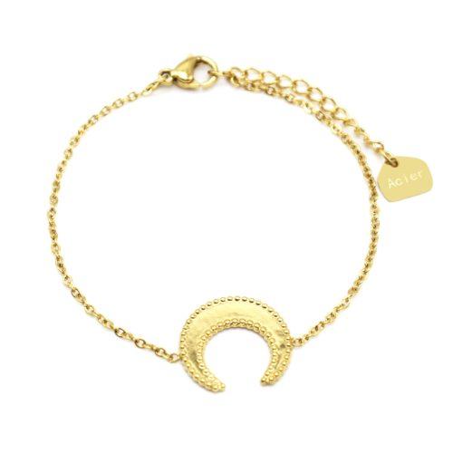 Bracelet-Fine-Chaine-avec-Corne-Lune-Contour-Points-Acier-Dore