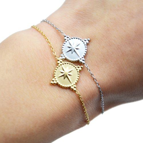 Bracelet-Fine-Chaine-avec-Cercle-Etoile-Polaire-Contour-Points-Acier