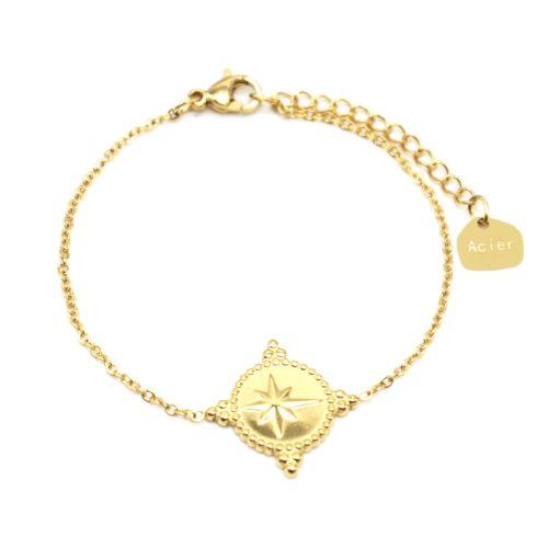 Bracelet-Fine-Chaine-avec-Cercle-Etoile-Polaire-Contour-Points-Acier-Dore