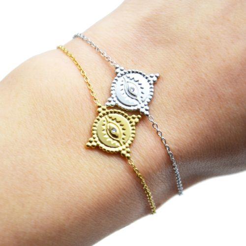 Bracelet-Fine-Chaine-avec-Cercle-Oeil-Contour-Points-Acier