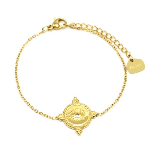 Bracelet-Fine-Chaine-avec-Cercle-Oeil-Contour-Points-Acier-Dore