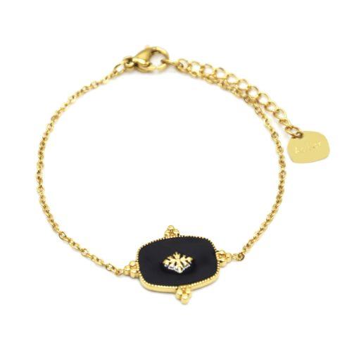 Bracelet-Fine-Chaine-avec-Medaille-Email-Noir-Motif-Baroque-et-Acier-Dore
