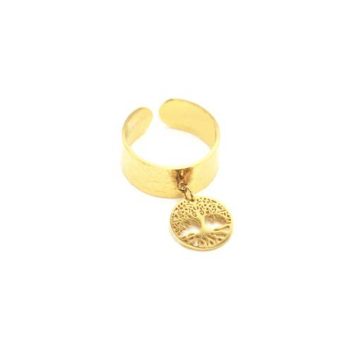 Bague-Large-Ouverte-avec-Pampille-Medaille-Ajouree-Arbre-de-Vie-Acier-Dore