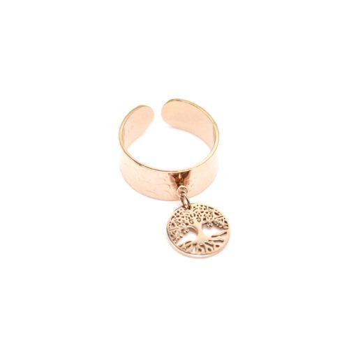 Bague-Large-Ouverte-avec-Pampille-Medaille-Ajouree-Arbre-de-Vie-Acier-Or-Rose