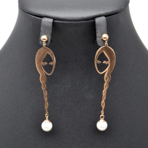 Boucles-dOreilles-Pendantes-Visage-Femme-Tresse-Acier-Or-Rose-et-Perle-Blanche