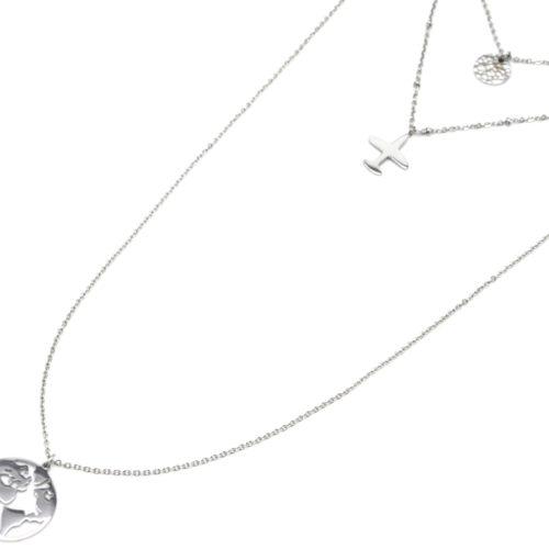Collier-Triple-Fine-Chaine-avec-Medaille-Martelee-Avion-et-Globe-Acier-Argente