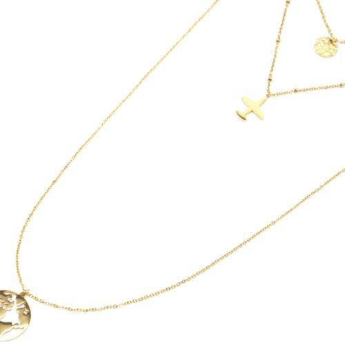 Collier-Triple-Chaine-avec-Medaille-Martelee-Avion-et-Globe-Acier-Dore