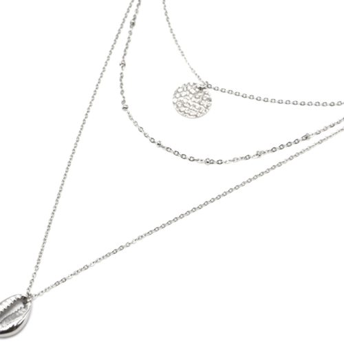 Collier-Triple-Fine-Chaine-avec-Medaille-Martelee-et-Coquillage-Acier-Argente
