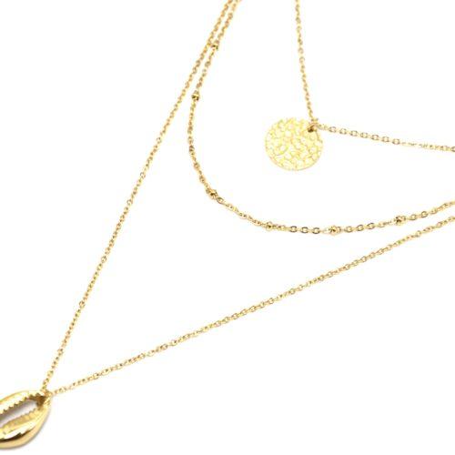 Collier-Triple-Fine-Chaine-avec-Medaille-Martelee-et-Coquillage-Acier-Dore