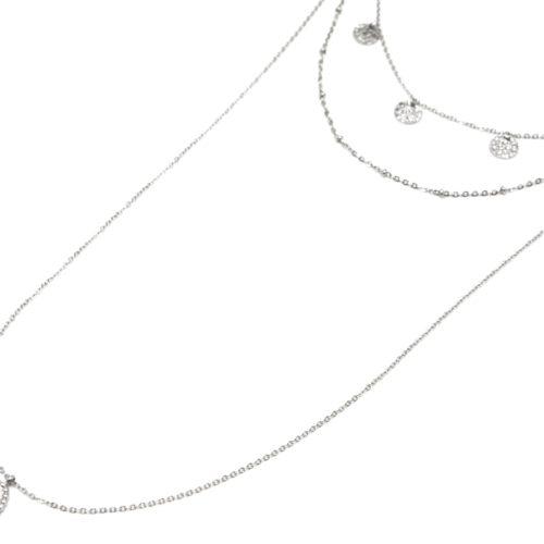 Collier-Triple-Chaine-avec-Pampilles-Martelees-et-Ovale-Triple-Points-Acier-Argente