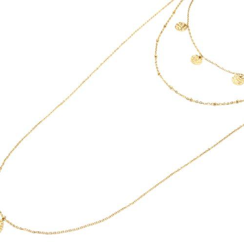 Collier-Triple-Fine-Chaine-avec-Pampilles-Martelees-et-Ovale-Triple-Points-Acier-Dore