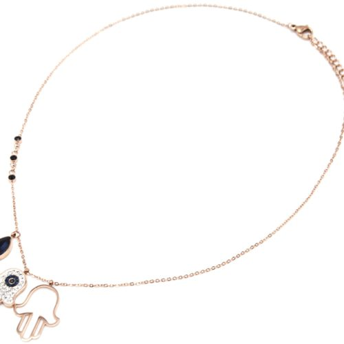 Collier-Fine-Chaine-avec-Pendentifs-Main-de-Fatma-Strass-Acier-Or-Rose-et-Pierre-Bleue
