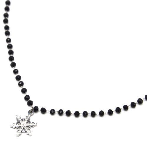 Collier-Perles-Noires-avec-Pendentif-Flocon-Acier-Argente-et-Strass
