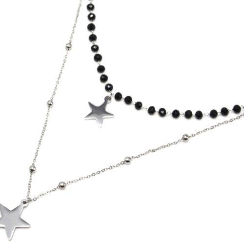 Collier-Double-Chaine-Perles-Noires-avec-Pendentifs-Etoiles-Acier-Argente