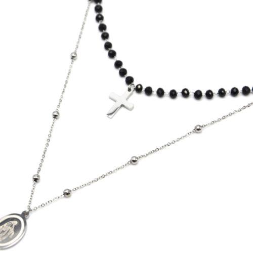 Collier-Double-Chaine-Perles-Noires-avec-Pendentifs-Croix-et-Vierge-Marie-Acier-Argente