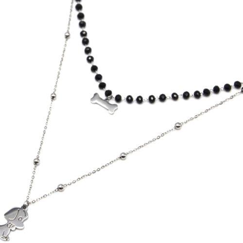Collier-Double-Chaine-Perles-Noires-avec-Pendentifs-Os-et-Chien-Acier-Argente