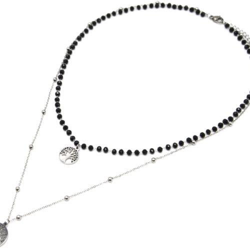 Collier-Double-Chaine-Perles-Noires-avec-Pendentifs-Arbres-de-Vie-Acier-Argente