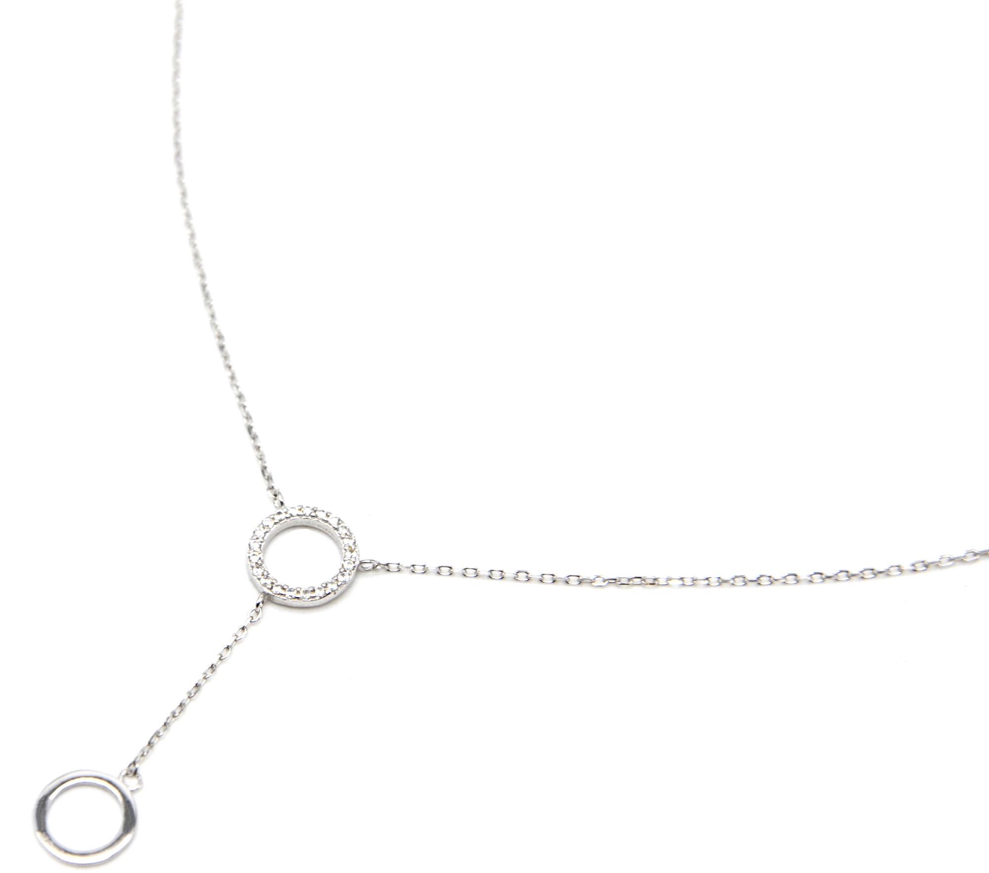 Fine Collier Zirconium Cc2571e Argent Chaîne 925 Pendentif Strass Cercles Y Avec Double trBdCQxsho