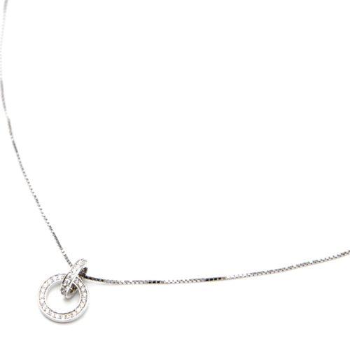 Collier-Fine-Chaine-Argent-925-Pendentif-Double-Cercles-Entrelaces-Strass-Zirconium