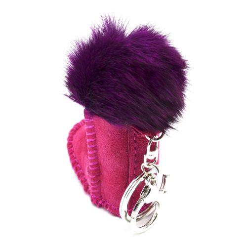 Porte-Cles-Bijou-de-Sac-Bottine-Boot-Effet-Daim-avec-Pompon-Violet