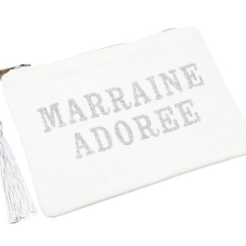 Petite-Trousse-Pochette-Toile-Message-Marraine-Adoree-Paillettes-et-Pompon-Argente
