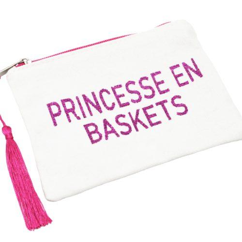 Petite-Trousse-Pochette-Toile-Message-Princesse-en-Baskets-Paillettes-et-Pompon-Fuchsia