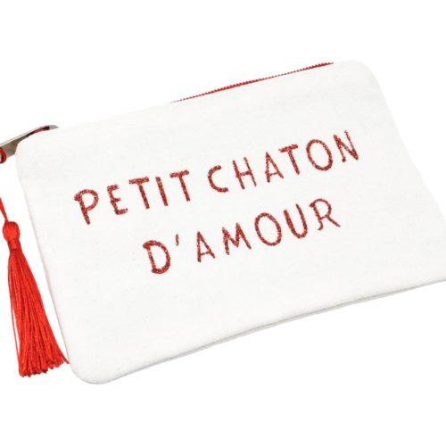 Petite-Trousse-Pochette-Toile-Message-Petit-Chaton-D-Amour-Paillettes-et-Pompon-Rouge