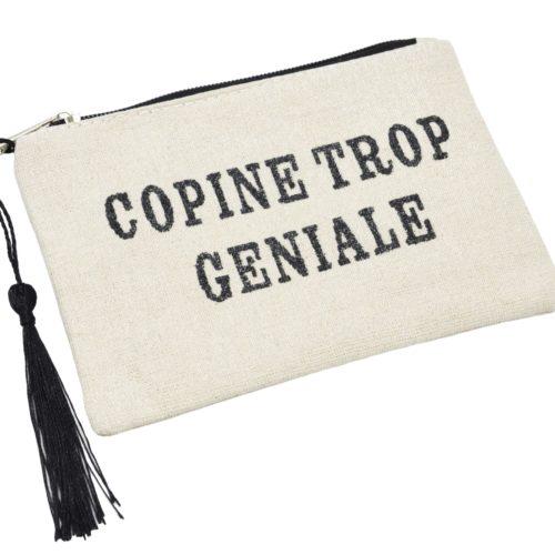 Petite-Trousse-Pochette-Toile-Message-Copine-Trop-Geniale-Paillettes-et-Pompon-Noir