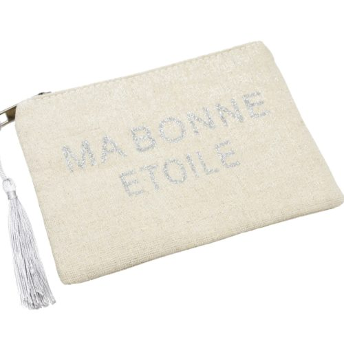 Petite-Trousse-Pochette-Toile-Message-Ma-Bonne-Etoile-Paillettes-et-Pompon-Argente