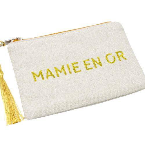 Petite-Trousse-Pochette-Toile-Message-Mamie-En-Or-Paillettes-et-Pompon-Dore