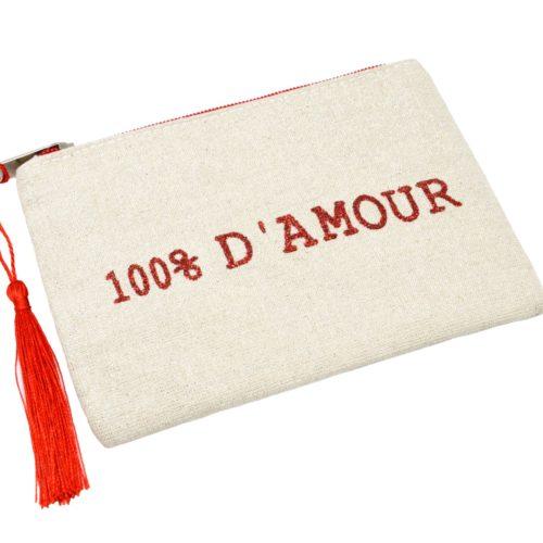 Petite-Trousse-Pochette-Toile-Message-100%-D-Amour-Paillettes-et-Pompon-Rouge