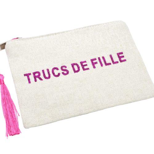 Petite-Trousse-Pochette-Toile-Message-Trucs-de-Fille-Paillettes-et-Pompon-Fuchsia