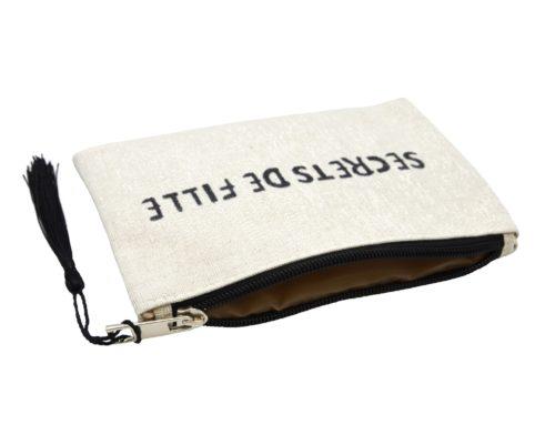 Petite-Trousse-Pochette-Toile-Message-Secrets-de-Fille-Paillettes-et-Pompon-Noir