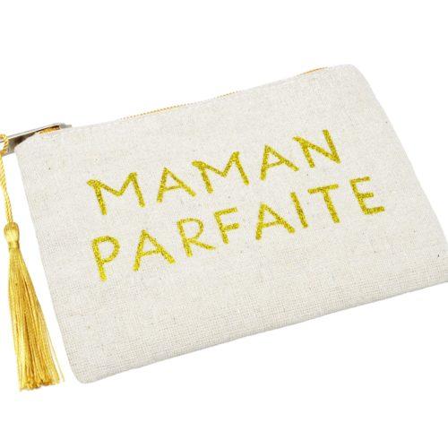 Petite-Trousse-Pochette-Toile-Message-Maman-Parfaite-Paillettes-et-Pompon-Dore