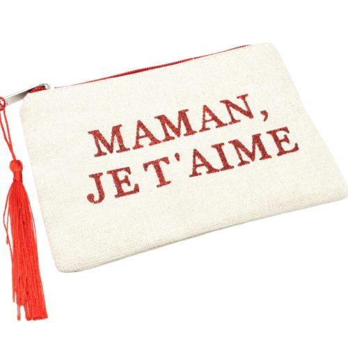 Petite-Trousse-Pochette-Toile-Message-Maman-Je-T-Aime-Paillettes-et-Pompon-Rouge