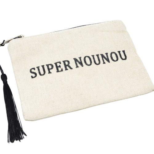 Petite-Trousse-Pochette-Toile-Message-Super-Nounou-Paillettes-et-Pompon-Noir