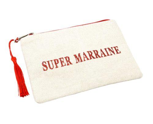 Petite-Trousse-Pochette-Toile-Message-Super-Marraine-Paillettes-et-Pompon-Rouge