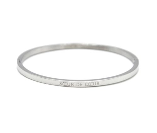 Bracelet-Jonc-Fin-Acier-Argente-avec-Message-Soeur-de-Coeur