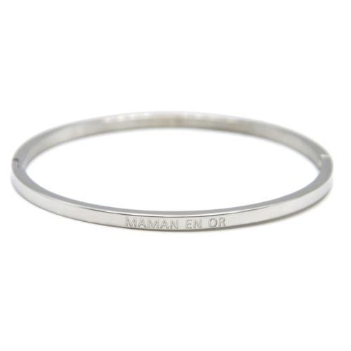 Bracelet-Jonc-Fin-Acier-Argente-avec-Message-Maman-en-Or