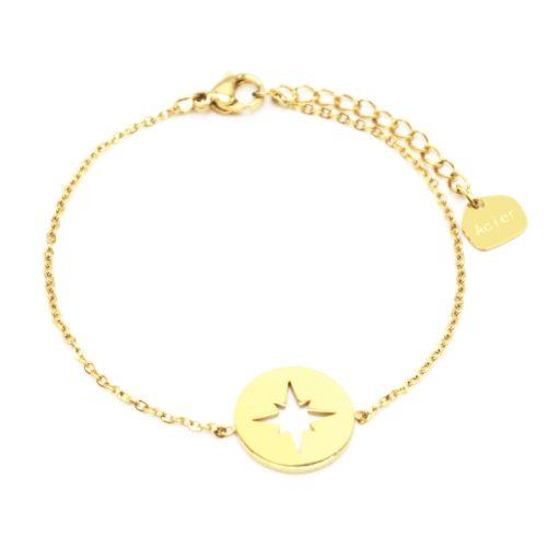 Bracelet-Fine-Chaine-avec-Medaille-Acier-Dore-Motif-Ajoure-Etoile-Polaire