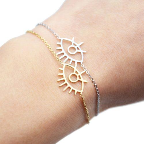 Bracelet-Fine-Chaine-avec-Charm-Oeil-Contour-Acier