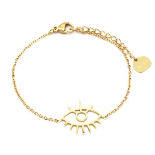 Bracelet-Fine-Chaine-avec-Charm-Oeil-Contour-Acier-Dore
