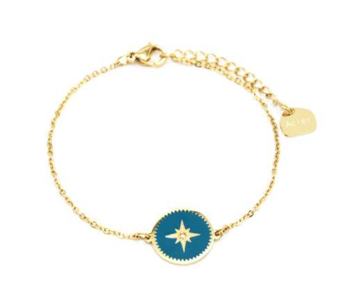 Bracelet-Fine-Chaine-Acier-Dore-avec-Cercle-Email-Bleu-Motif-Etoile-Polaire