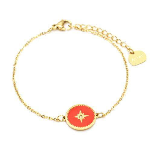 Bracelet-Fine-Chaine-Acier-Dore-avec-Cercle-Email-Orange-Motif-Etoile-Polaire