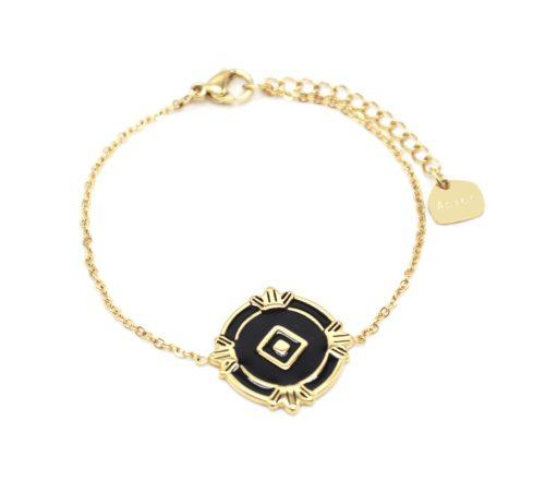 Bracelet-Fine-Chaine-avec-Medaille-Email-Noir-Losange-et-Motifs-Acier-Dore